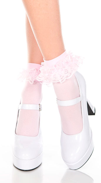 Ruffle Trim Ankle High Socks  - Baby Pink