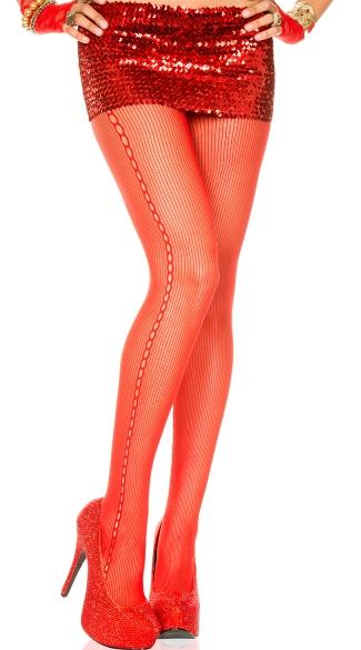 Side Crochet Pantyhose - Red