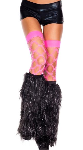 Furry Lurex Leg Warmers Black And Silver Fur Legwarmers