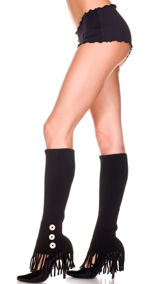 Leg Warmers with Side Buttons and Fringe, Acrylic Leg Warmer With Frills And Side Buttons, Costume Hosiery
