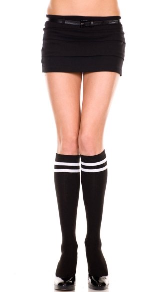 Knee Highs with Double Stripe Top - Black/White