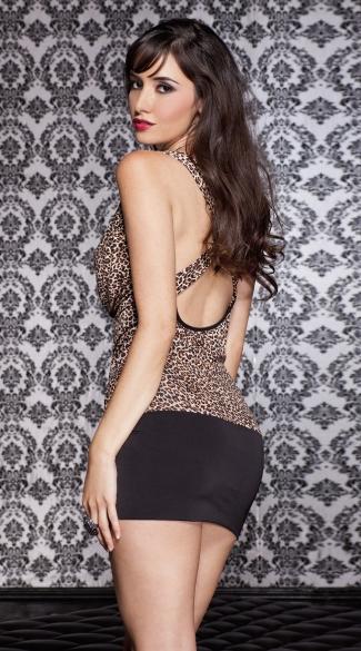 Draped Leopard Mini Dress - Leopard Print/Black