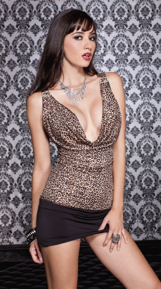 Draped Leopard Mini Dress, Leopard Short Dress, Leopard Chemise