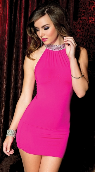 Neck Hot Pink Mini Dress, High Neck Mini Dress, Hot Pink Dress