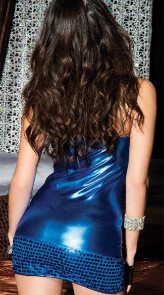Metallic Blue Mini Club Dress - Blue