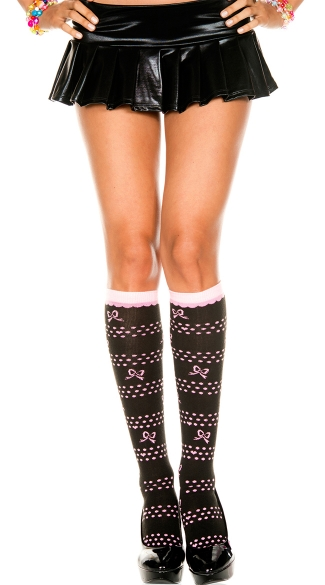 Knee Highs with Polka Dots and Hearts, Knee Hi With Bow Polkadots And Hearts Design, Costume Hosiery