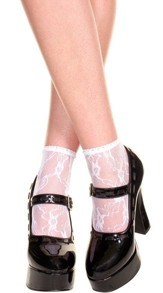 Lace Anklets - White