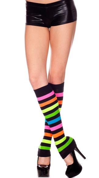 Neon Stripe Leg Warmers - Rainbow