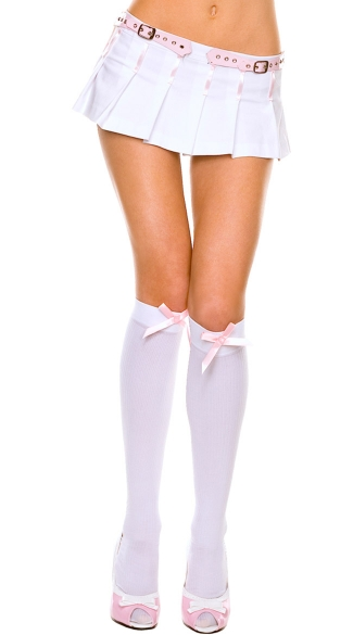 Opaque Knee Highs with Satin Bow, School Girl Knee Highs, Costume Hosiery