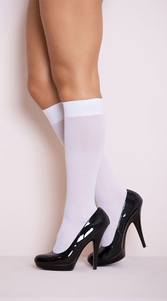 Opaque Knee Highs - White