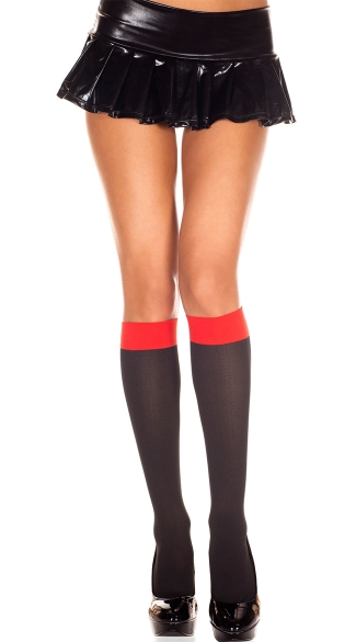 Two Tone Knee Highs, Costume Hosiery, Opaque Knee Highs