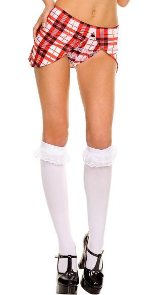 Opaque Knee Highs with Ruffle Lace Trim, School Girl Knee High Socks, Costume Hosiery