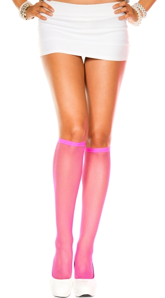 Fishnet Knee Highs - Pink