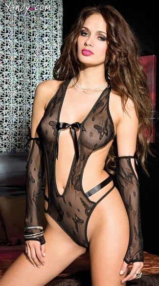 Butterfly Mesh Teddy, Black Mesh Butterfly Teddy