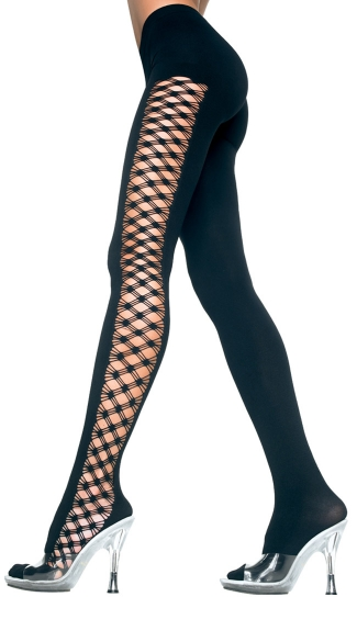 Opaque Tights with Multi Fence Net Sides, Fence Net and Opaque Tights, Costume Hosiery