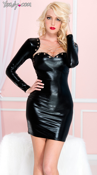 Strappy Wet Look Chain Dress - Black