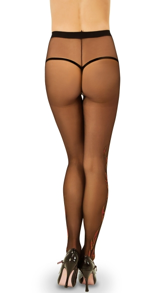 Pantyhose with Flame Print - Black