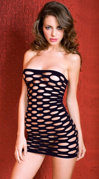 Pothole Chemise, Purple Net Chemise, Black Net Mini Dress, Pothole Mini Dress