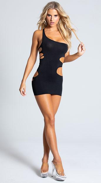 Rock'n One Shoulder Mini Dress - Black