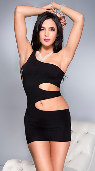 Rock'n One Shoulder Mini Dress - Black