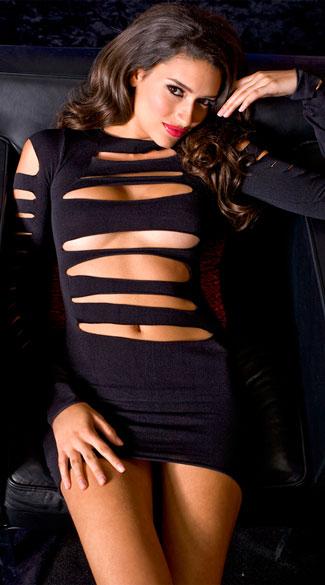 Heartbreaker Cut Out Long Sleeve Mini Dress - Black
