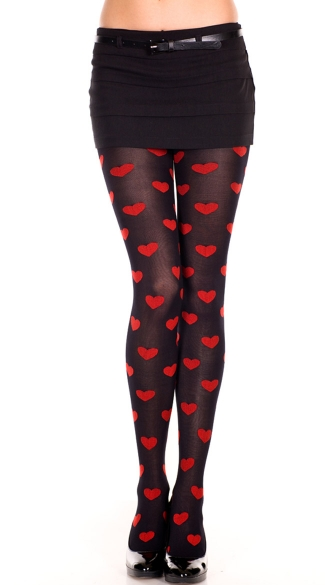Opaque Pantyhose with Heart Print - Black/Red