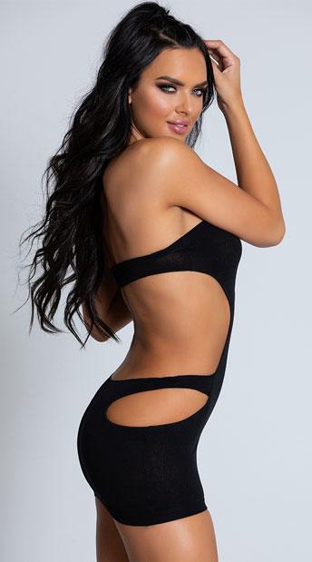 Strapless Cut-Out Mini Dress - Black
