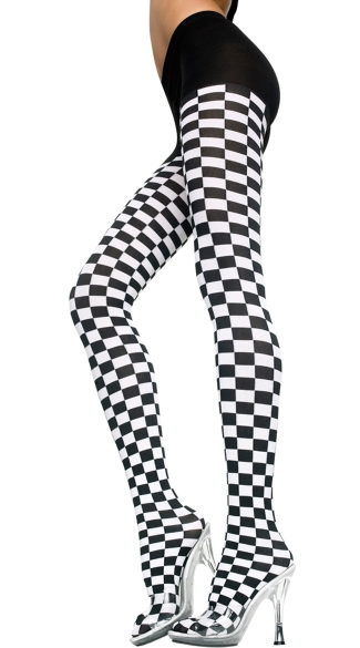 Opaque Checkered Pantyhose, Costume Hosiery, Halloween Pantyhose