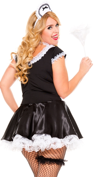 Plus Size Lace Trimmed French Maid Costume - As Shown