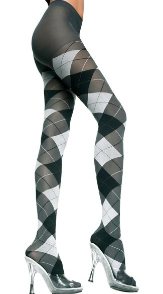 Opaque Argyle Tights, Argyle Hosiery, Costume Hosiery