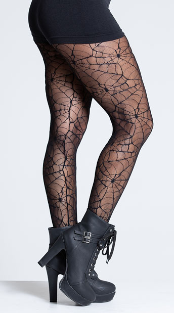 Sheer Spider Web Pantyhose - Black