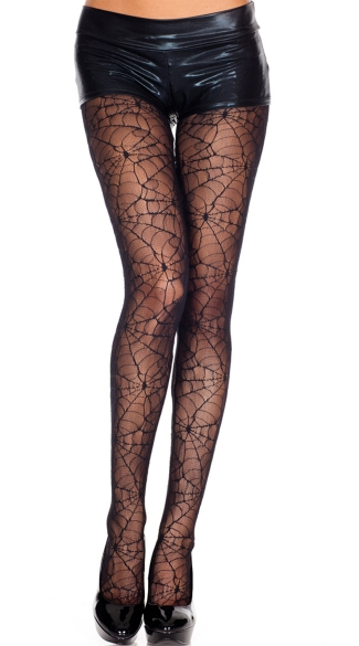 Sheer Spider Web Pantyhose - Black