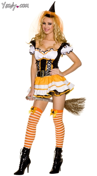 Wicked Candy Corn Witch Costume  sc 1 st  Yandy & Wicked Candy Corn Witch Costume Candy Corn Halloween Costume ...
