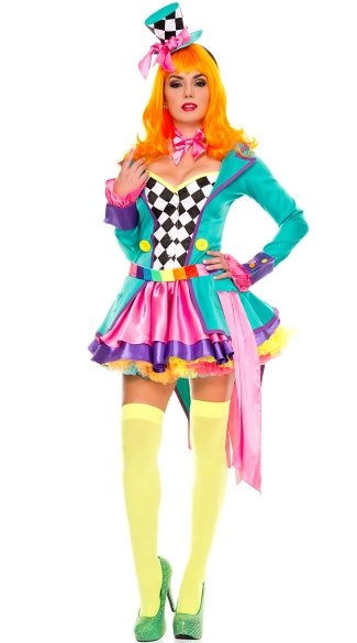 Deluxe Hatter Hottie Costume, Sexy Tea Party Hatter Costume, Colorful Hatter Costume
