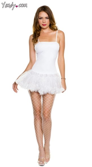 Spaghetti Strap Petticoat Dress - White