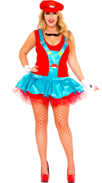 Plus Size Red Playful Plumber Costume - Blue/Red