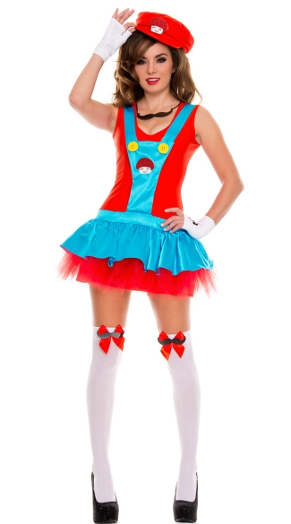 Red Playful Plumber Costume, Red Italian Plumber Costume, Video Game Plumber