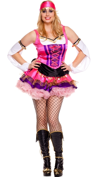 Plus Size Temptress Gypsy Costume - Multi-Color