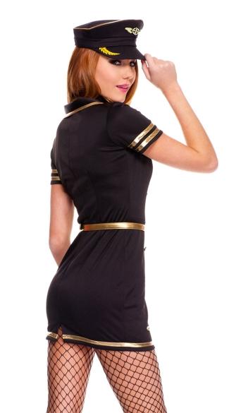 Foxy Flight Attendant Costume - Black/Gold