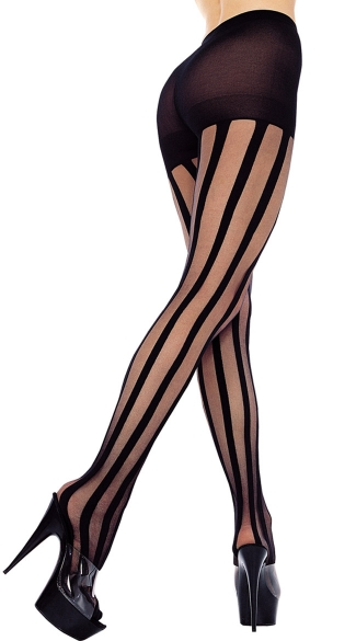 Sheer Pantyhose With Stripes, Striped Sheer Pantyhose, Sheer Striped Pantyhose