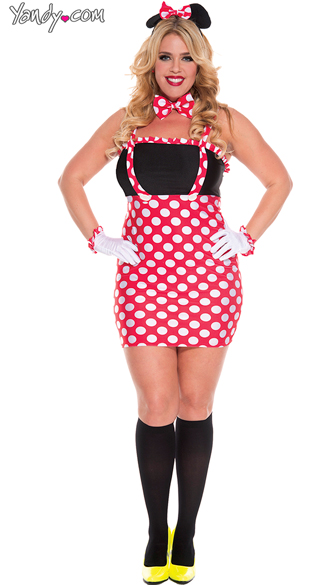 Plus Size Darling Mouse Costume, Plus Size Polka Dot Mouse costume, Plus Size Red Mouse costume