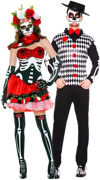 Graveyard Fiesta Couples Costume, Miss Muerta costume, Sugarskull costume, Day of the Dead Darling costume, Men\'s Graveyard Mister Costume, Men\'s Day Of The Dead Costume, Men\'s Skeleton Costume