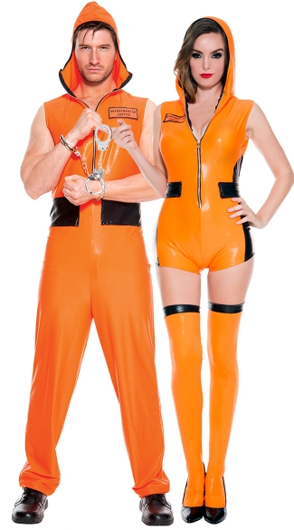 Escaped Convicts Couples Costume, Most Wanted Prisoner Costume, Orange Vinyl Prison Romper Costume, Criminal Romper Costume, Men\'s Escaped Convict Costume, Men\'s Prisoner Costume