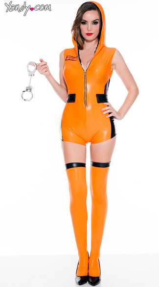 Most Wanted Prisoner Costume, Orange Vinyl Prison Romper Costume, Criminal Romper Costume