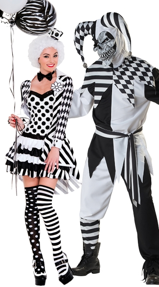 Nobody\'s Fool Couples Costume, Black and White Clown Costume, Women ...