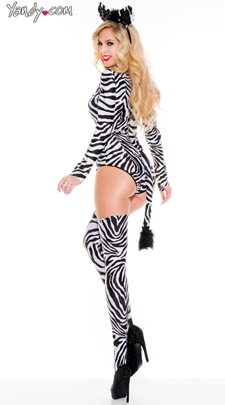 Sexy Zebra Costume - As Shown