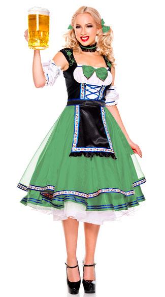 Oktoberfest Beer Girl Costume - Green