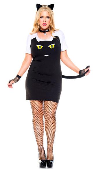 Plus Size Fuzzy Kitty Costume - As Shown