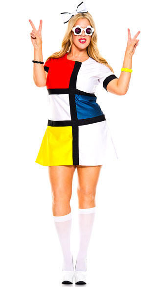 Plus Size Colorful Mod Babe Costume - As Shown