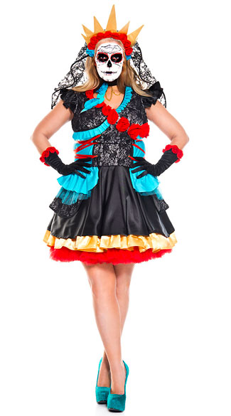 Plus Size Day Of The Dead Darling Costume, plus size day of the dead costume - Yandy.com